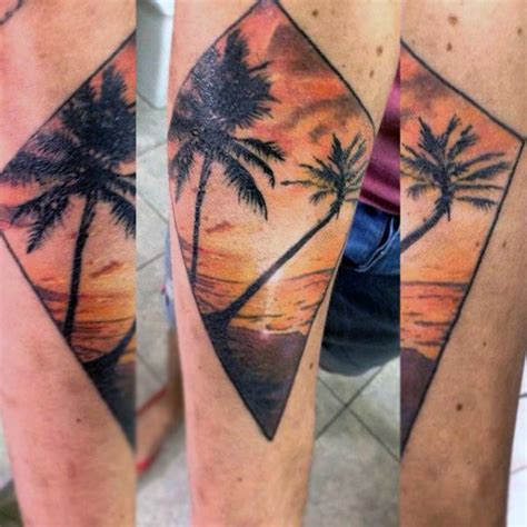 palm tree sunset tattoo designs 90 sunset tattoos for fading daylight sky designs