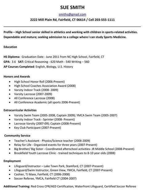 sle college resume high school senior best resume