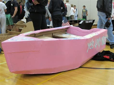 physics boat project grosse pointe north students race in cardboard boats