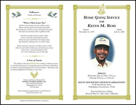 free funeral program template publisher free funeral program template for microsoft publisher