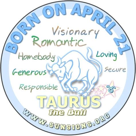 april 21 birthday horoscope personality sun signs