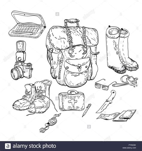 doodle drawing kit travel background and survival kit drawing in doodle