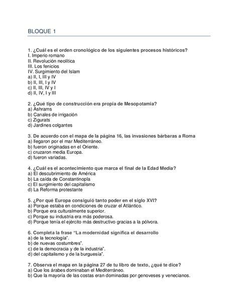 preguntas de historia de mexico examen tipo enlace historia universal