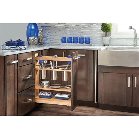 Kitchen Utensils Storage Cabinet Rev A Shelf 25 5 In H X 5 5 In W X 21 625 In D Pull Out Wood Base Cabinet Utensil Organizer