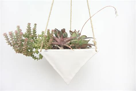 White Hanging Planter | large white porcelain hanging triangular planter made by