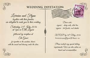 wedding invite postcards vintage postcard wedding invitations