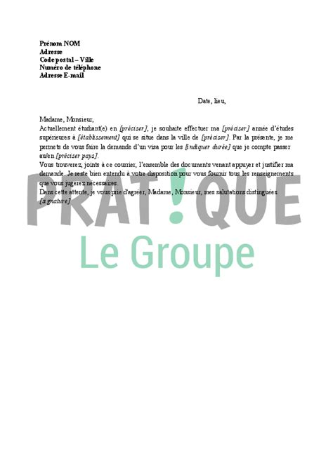 Modele De Lettre Pour Demande De Visa Touristique lettre demande de visa usa pour 233 tudes pratique fr