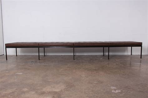 bronze bench bronze and leather museum bench by florence knoll at 1stdibs