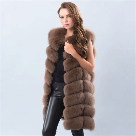 with fur vest 2018 real real fox fur vest 90cm warm and thick fox