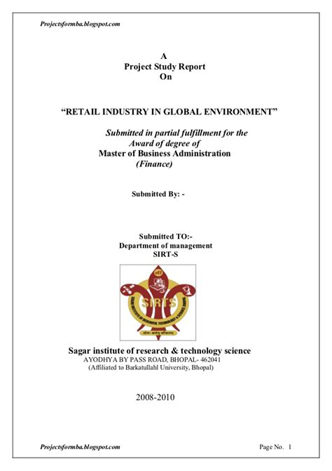 Mba Internships For Retail by A Project Report On Retail Industry In Global Environment