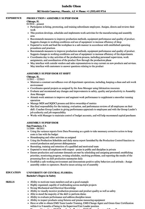 Assembly Resume by Assembly Supervisor Resume Sles Velvet