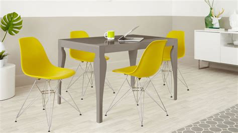yellow dining table and chairs 4 seater dining set taupe grey gloss eames dining chairs