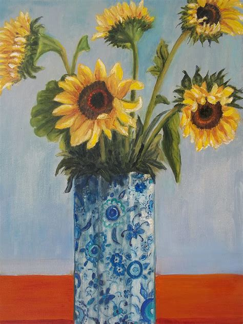 How To Draw Sunflowers In A Vase by Sunflower In Blue Vase Painting By Eydie Paterson