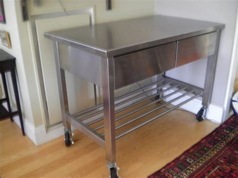stainless steel kitchen island on wheels stainless kitchen island work table with wheels in dumbo apartment therapy classifieds