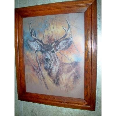 home interior framed auction for buck deer picture print home interiors framed 1978 signed vintage buy
