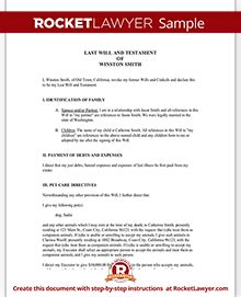 Last Will And Testament Template For A Will Rocket Lawyer Carolina Will Template