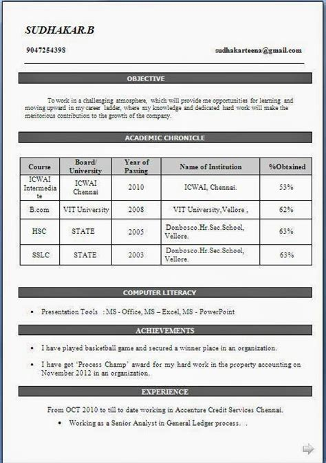 Resume Format Doc For Fresher Bcom Bcom Fresher Resume Sle In Doc