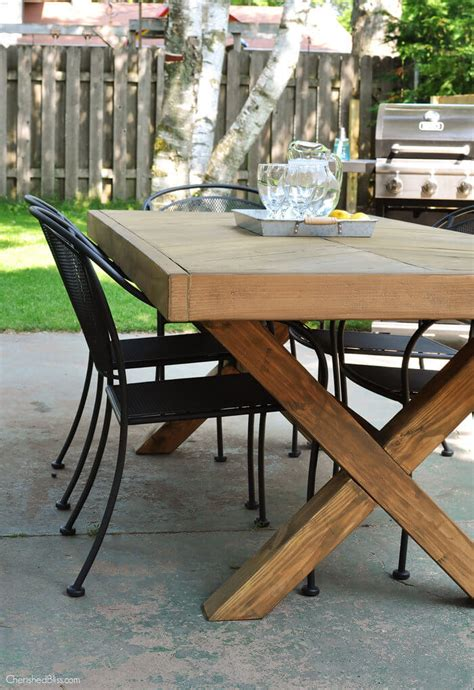 diy table with cross legs outdoor table with x leg and herringbone top free plans