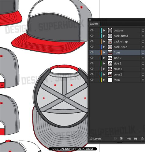 6 Panel Hat Template fashion design templates vector illustrations and clip