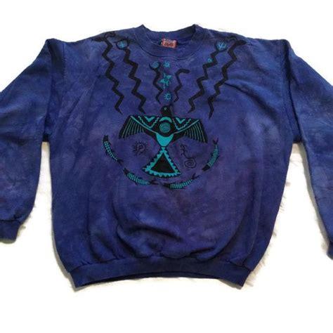 Sweater Tribal 79 washed tribal print sweater crewneck sweatshirt