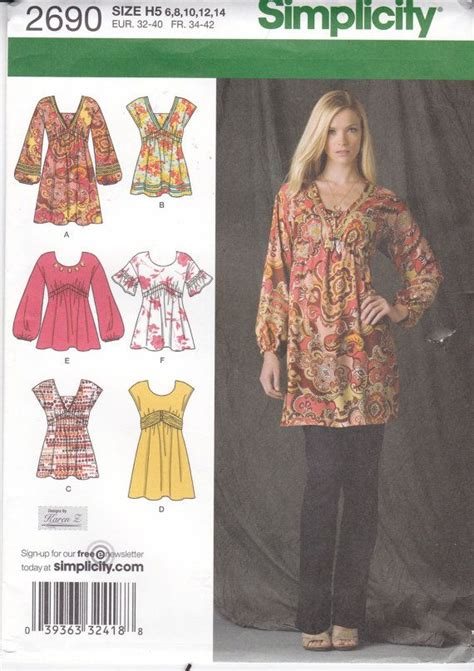 sewing pattern empire waist top loose fitting top empire waist bodice pullover top tunic
