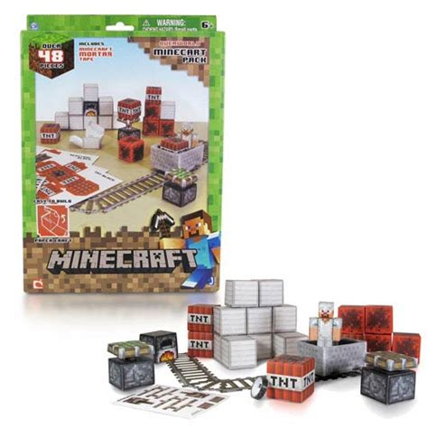Minecraft Papercraft Minecart Set - minecraft papercraft minecart set 48 pack jazwares