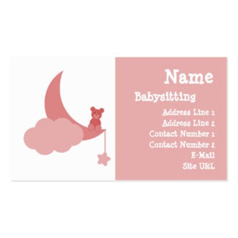 babysitting business cards templates free babysitting business cards 800 business card templates