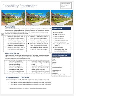 capability statement template get started quickly