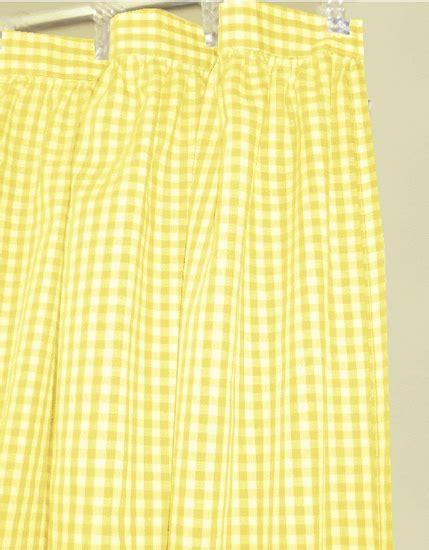 yellow gingham check fabric shower curtain