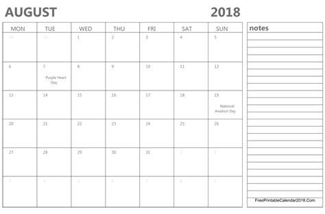 2018 August Calendar August 2018 Calendar Templates