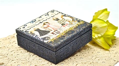 How To Decoupage A Box - decoupage tutorial box with mineral paste diy by