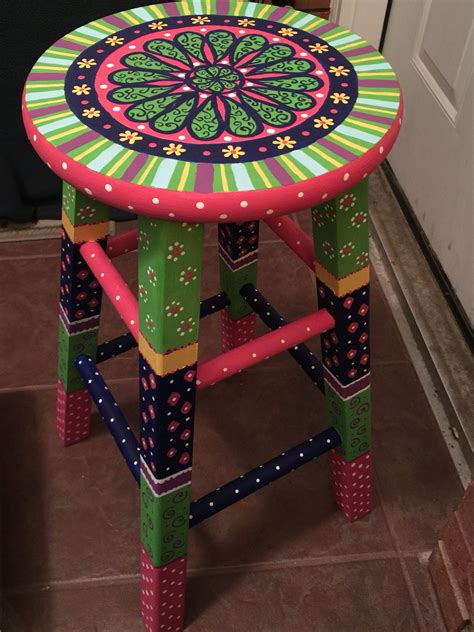 Painted Wooden Stools by Painted Stool Painted Furniture