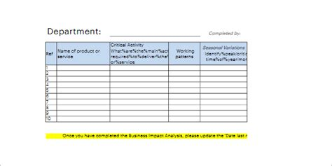 business impact analysis template xls business impact analysis template excel