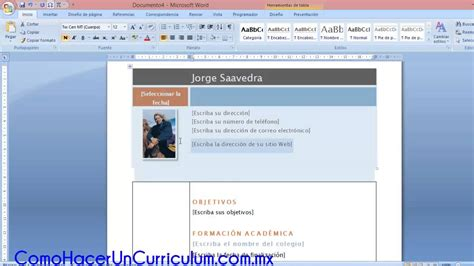 como hacer un curriculum vitae en microsoft word 2010 como hacer un curriculum vitae en word youtube