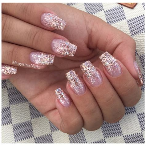 rose gold glitter ombré nails nail art gallery