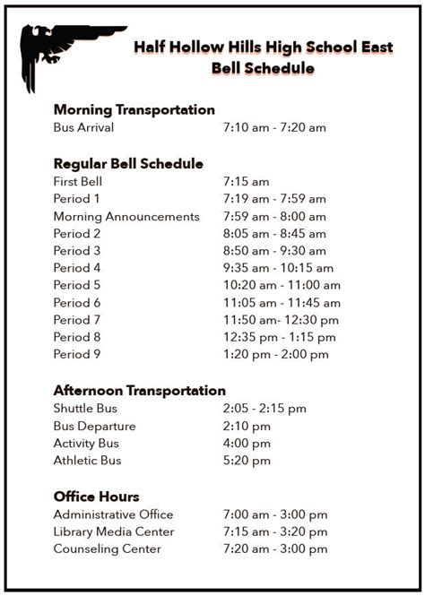 bell schedule  hollow hills school district