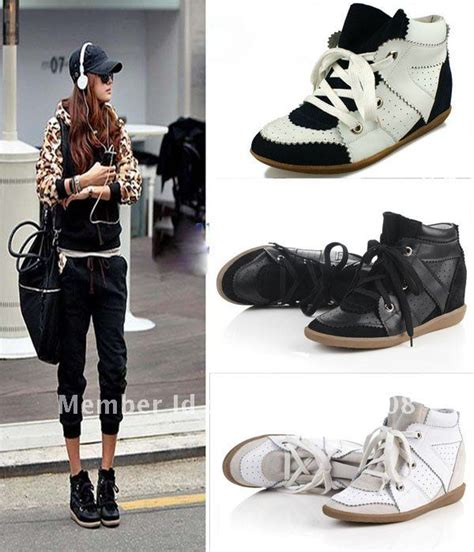 black high heel wedge sneakers freeshipping lace up high top wedge sneakers shoes