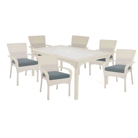 Martha Stewart Patio Dining Set Martha Stewart Living Charlottetown White 7 All Weather Wicker Patio Dining Set With