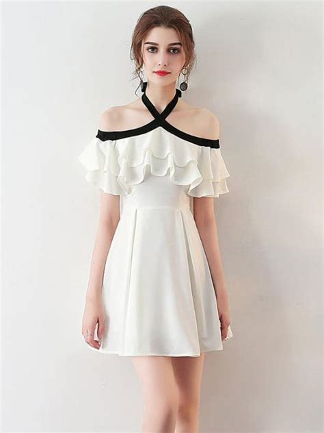 chic halter homecoming dress simple white cheap short prom