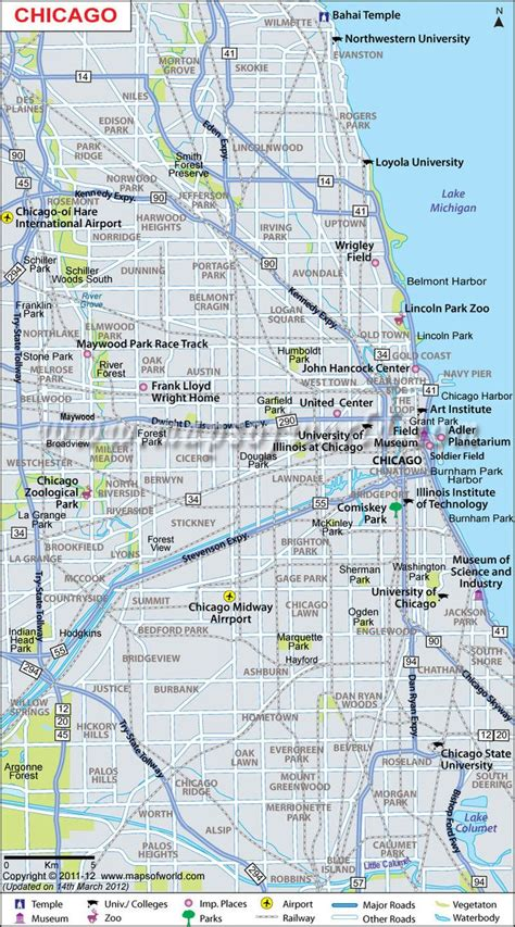chicago map chicago city map maps of world