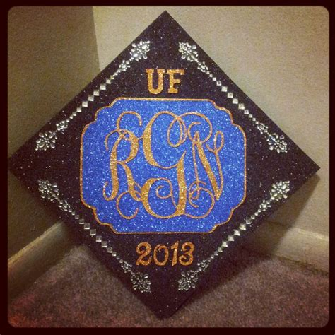 Decorating Mortar Board by Sparkly Orange And Blue Graduation Cap Decorated Mortar