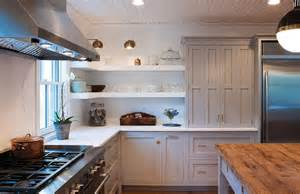 Shiplap Countertop White And Gray Kitchen Features Light Gray Cabinets