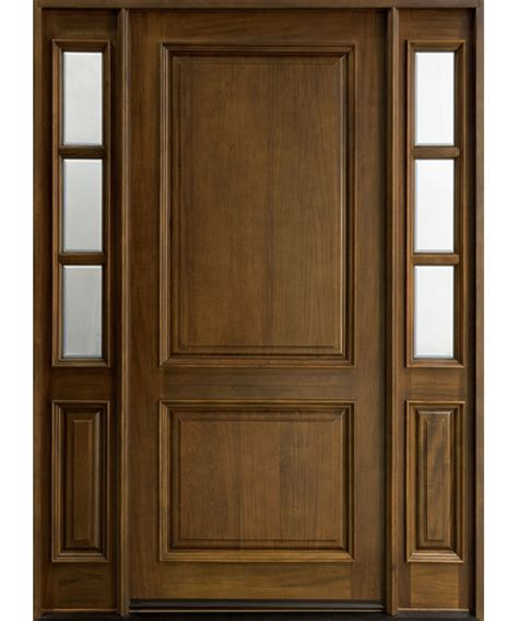 wooden front door entry door in stock single with 2 sidelites solid wood with walnut finish classic series