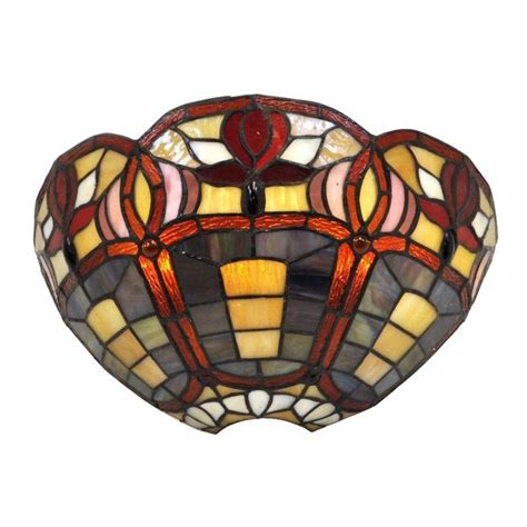 Stained Glass Wall Sconce It S Exciting Lighting 7 Light Stained Glass Half Moon Battery Operated Led Sconce With 3