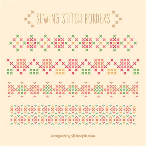 sewing borders design elements vector sewing stitch borders vector free download