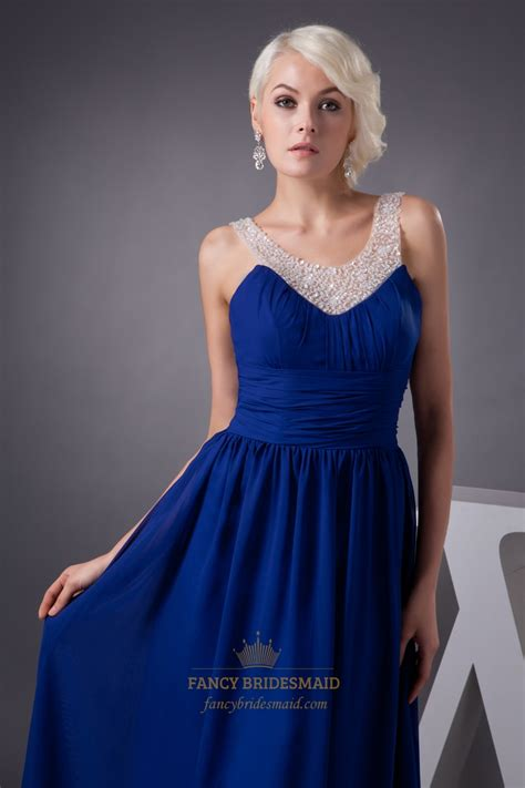 royal blue beaded dress royal blue chiffon prom dress with beaded neckline and