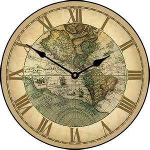 World Map Clock by 1596 World Map Wall Clock