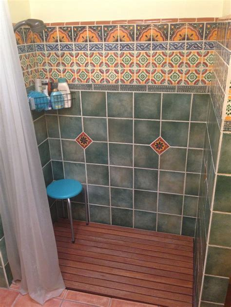 Mexican Tile Bathroom Ideas Green Mexican Tile Bathroom Search Bathroom Pinterest Bath Mexican Style