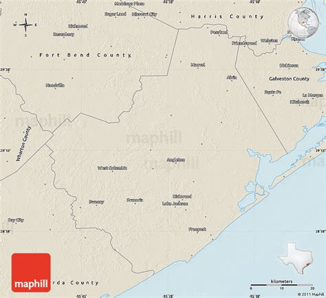 brazoria county texas map shaded relief map of brazoria county