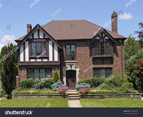 tutor style house tudor style house two gables stock photo 146306351